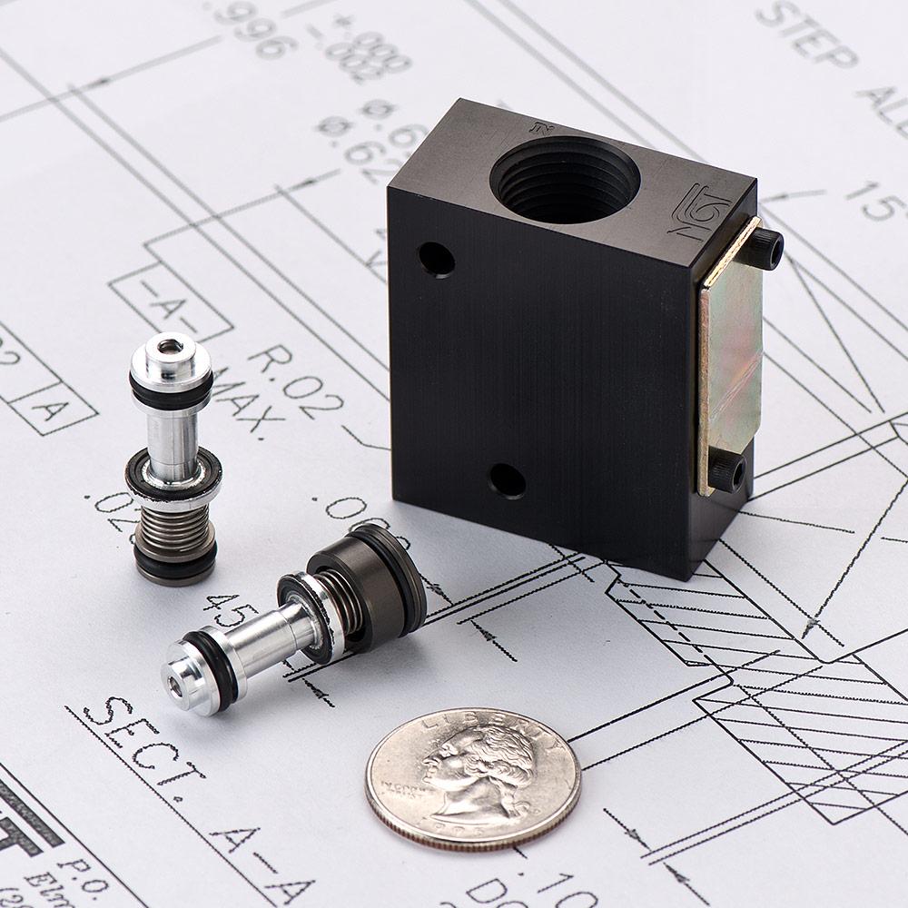 Pneumatic cartridge valve for a manifold cv ngt valves